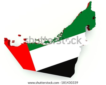 Map of United Arab Emirates with flag colors. 3d render illustration. - stock photo
