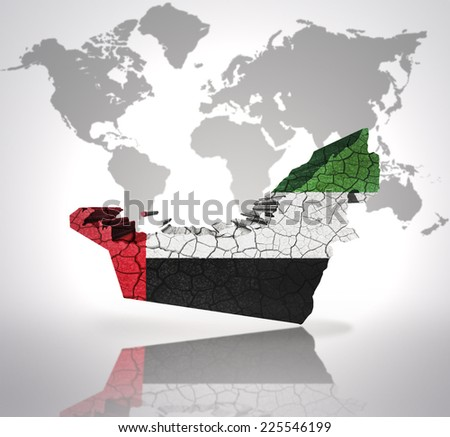 Map of United Arab Emirates with United Arab Emirates Flag on a world map background - stock photo
