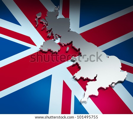 Map of United Kingdom - stock photo