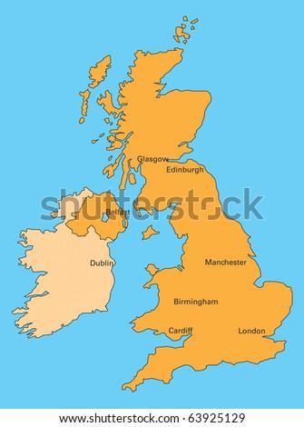 map of united kingdom and ireland - stock photo