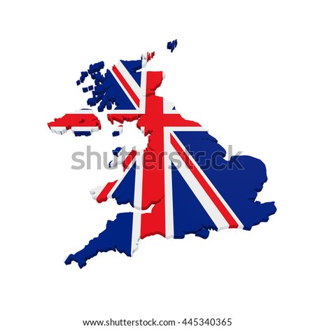 Map of United Kingdom. 3D Rendering