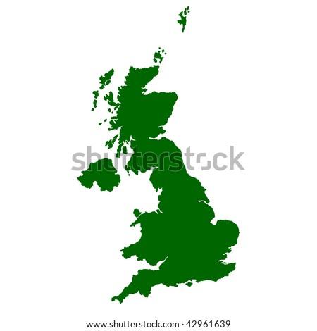 Map of United Kingdom isolated on white background. - stock photo
