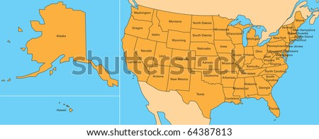 map of united states. including alaska and hawaii - stock photo