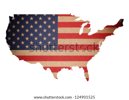 Map of United States of America on recycled paper texture isolated - stock photo