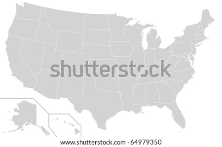 Map of United States of America showing borders of different electoral states, white background. - stock photo