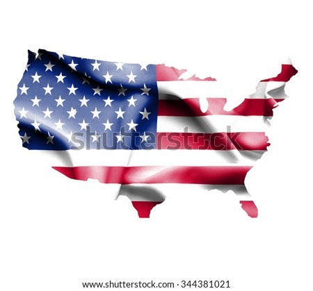 Map of United States of America with waving flag isolated on white - stock photo