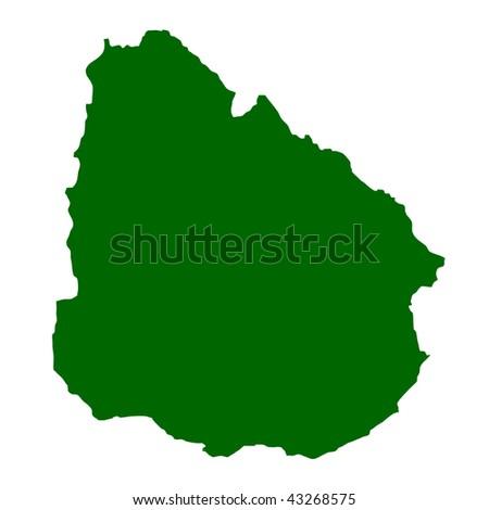 Map of Uruguay isolated on white background. - stock photo