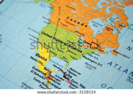 map of usa & canada - stock photo
