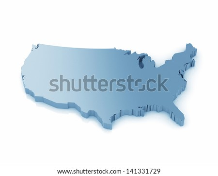 Map of USA  - 3D high resolution render - stock photo