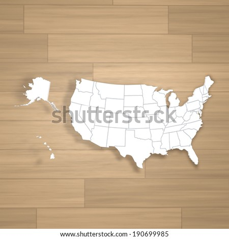 Map of USA. 3d on wood background - stock photo