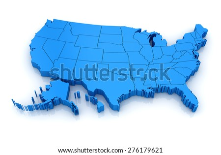 Map of USA. 3d render and computer generated image. isolated on white. - stock photo