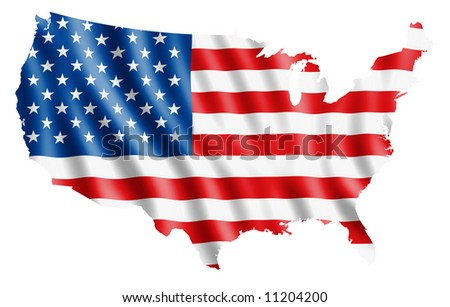 Map of USA filled with a waving flag. Clipping path included - stock photo