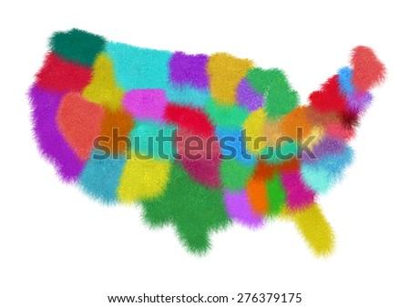 Map of USA states  - stock photo