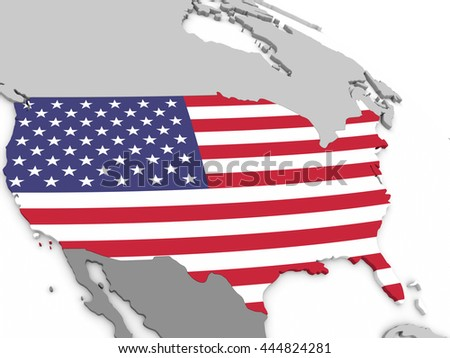 Map of USA with embedded national flag. 3D illustration