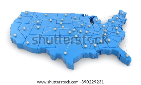 Map of USA with flight paths. Image with clipping path. - stock photo