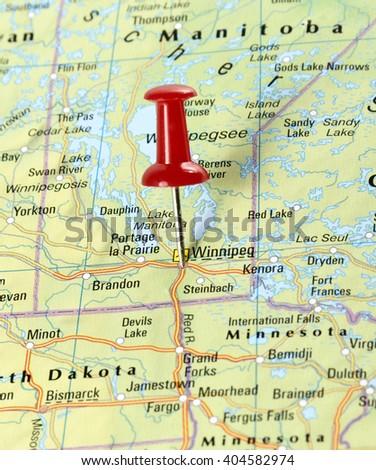 map usa pin set on winnipeg stock photo royalty free 404582974
