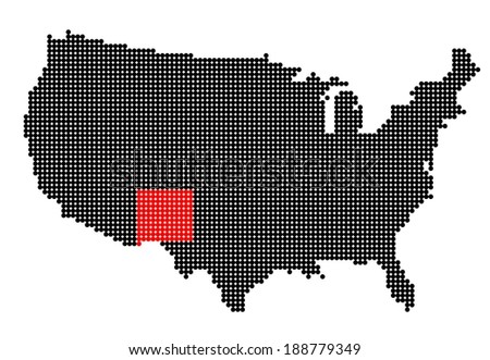 Map of USA with stylized map of New Mexico made from black and red dots - stock photo