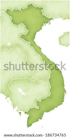 Map of Vietnam - stock photo
