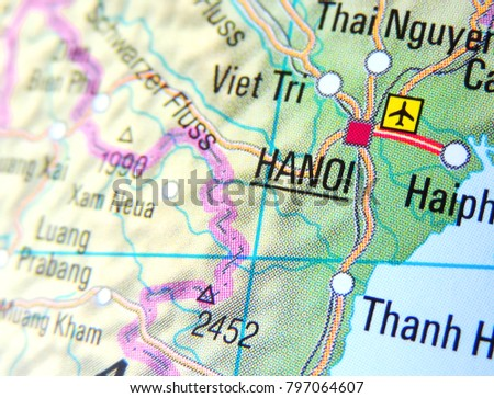 Map Vietnam Focus On Hanoi Stock Photo (Royalty Free) 797064607 ...