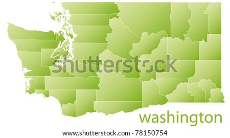map of washington state, usa - stock photo