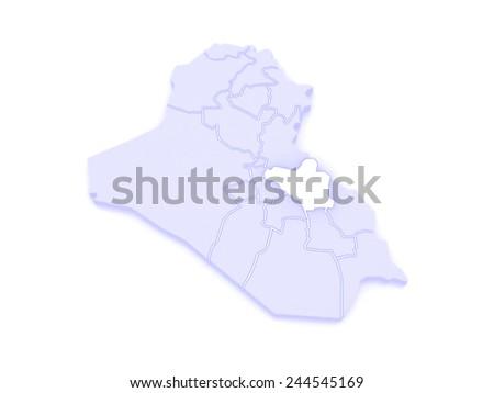 Map of Wasit. Iraq. 3d - stock photo