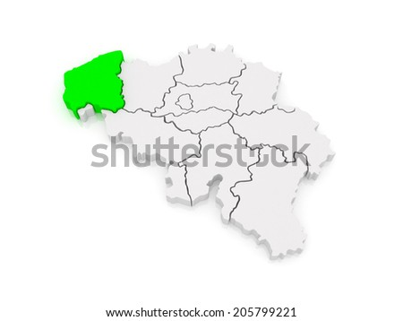 Map of West Flanders. Belgium. 3d - stock photo