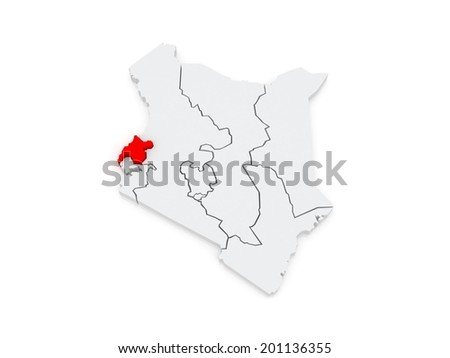 Map of West. Kenya. 3d