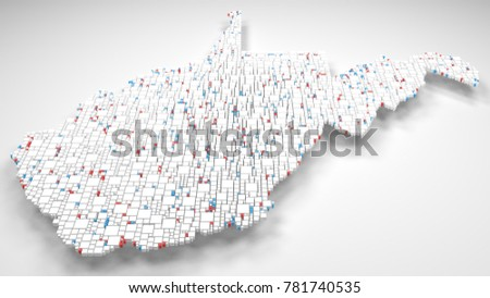 Map of West Virginia - USA | 3d Rendering, mosaic of little bricks - White and Flag colors