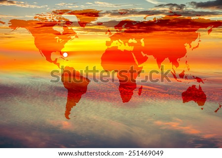 Map of World on sunset sky background. - stock photo