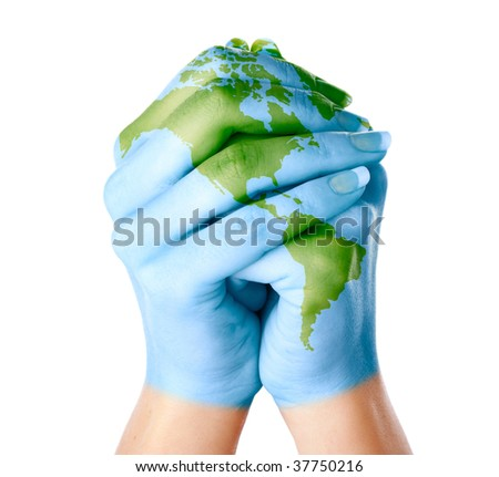 Map of world painted on hands. Isolated on white background