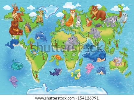 map of world wild animals - stock photo