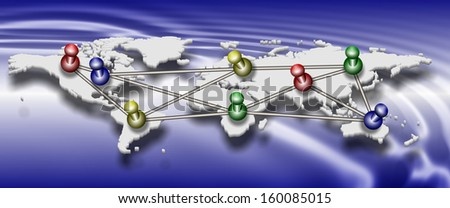 Map of World with colorful pins connected to each other / World connections - stock photo