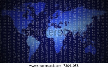 Map of world with financial figures - stock photo