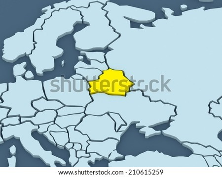 Map of worlds. Belarus. 3d