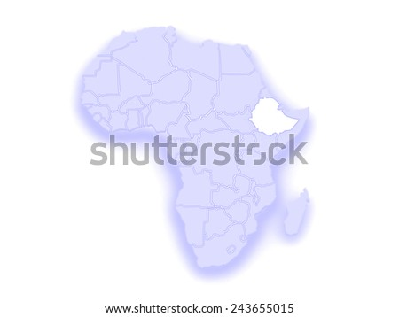 Map of worlds. Ethiopia. 3d - stock photo