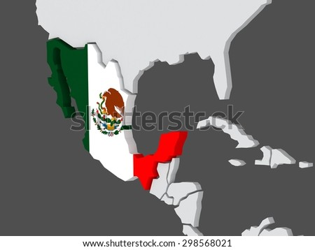 Map of worlds. Mexico. 3d - stock photo