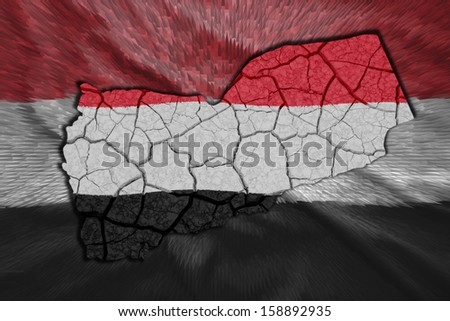 Map of Yemen in National flag colors - stock photo