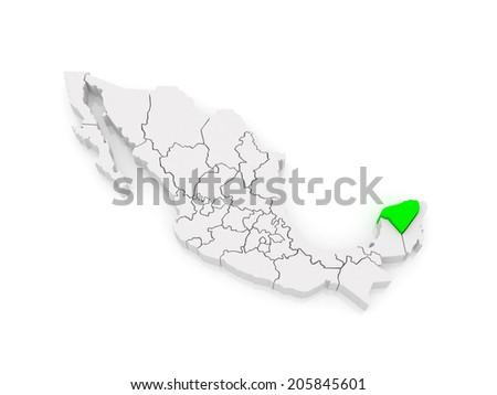 Map of Yucatan. Mexico. 3d - stock photo