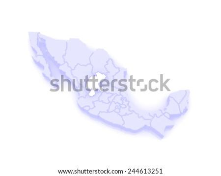 Map of Zacatecas. Mexico. 3d - stock photo