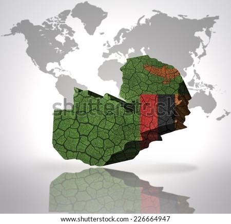 Map Zambia Zambian Flag On World Stock Illustration 226664947 ...
