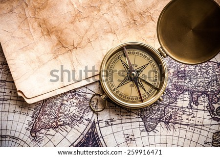 Map, Old, Compass. - stock photo