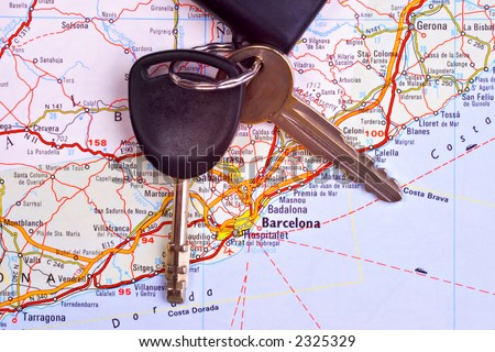 Map or Barcelona with set of well travelled car keys