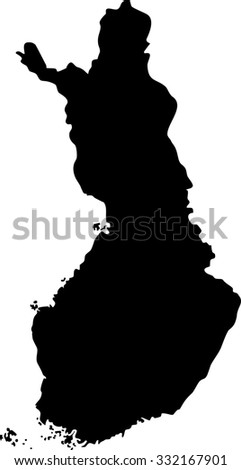 Map outline mask of an European country of Finland