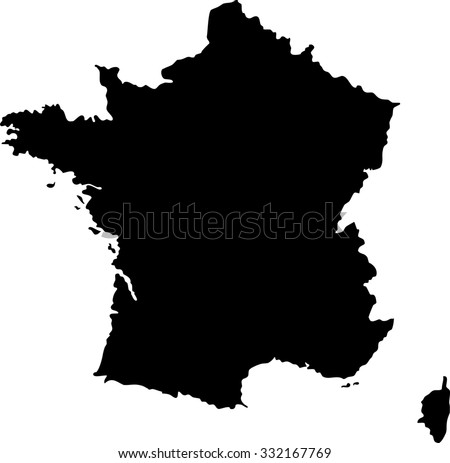 Map outline mask of an European country of France with Corsica - stock photo