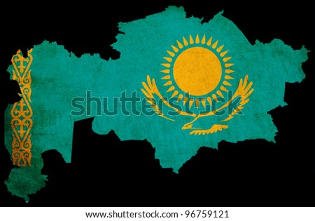 Map outline of Kazakhstan with flag insert grunge effect - stock photo