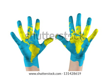 Map painted childs on hands. Concept save the world - stock photo