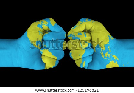 Map painted on hands - stock photo