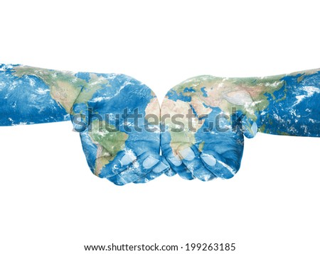 Map painted on hands.Concept of having the world in our hands - stock photo