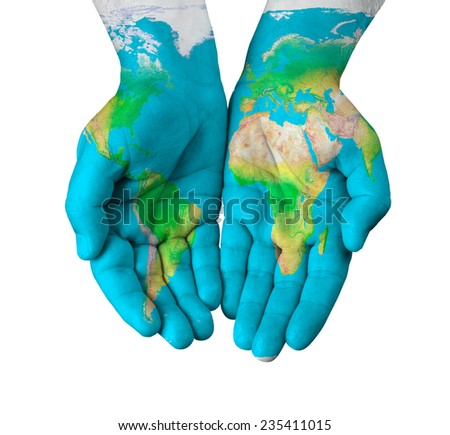 Map painted on hands isolated on white background - stock photo
