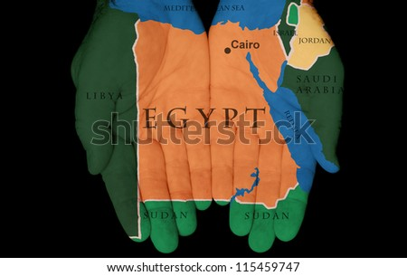Map Painted On Hands Showing The Concept Of Having Egypt In Our Hands